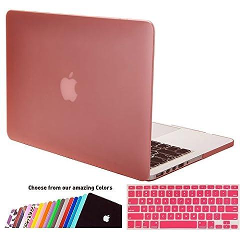MacBook Pro 13 Retina Hülle Schale, iNeseon Ultra Slim Gummierte Hartschale Tasche Cover Shell, US Rosa und EU Transparent Tastatur Abdeckung Schutzhülle für Apple MacBook Pro 13.3 Zoll mit Retina Display Modell:A1502 und A1425 (Rosa)