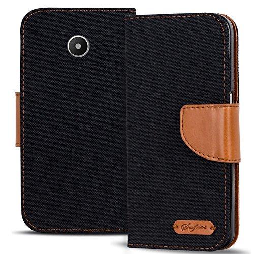 Verco Ascend Y330 Hülle, Schutzhülle für Huawei Y330 Tasche Denim Textil Book Case Flip Case - Klapphülle Schwarz