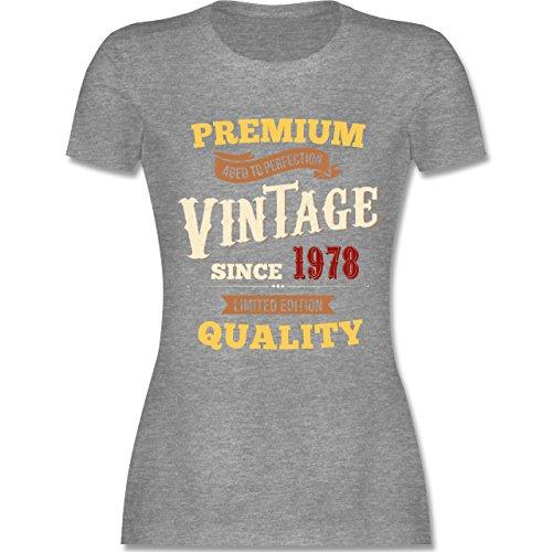 Shirtracer Geburtstag - 40. Geburtstag Vintage 1978 - Damen T-Shirt Rundhals Grau Meliert