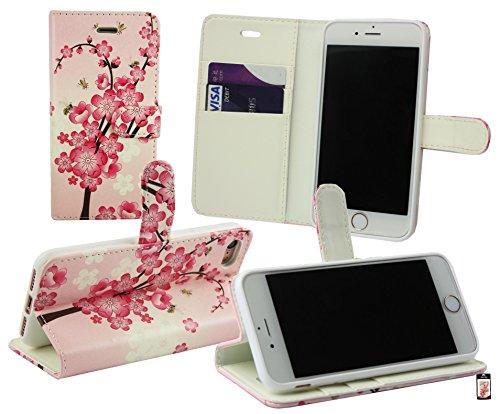 Emartbuy® Apple iPhone 7 Portefeuille Étui Coque Case Cover en Cuir PU Avec des Fentes de Cartes - Noir Étui Coque Rose Fleurs