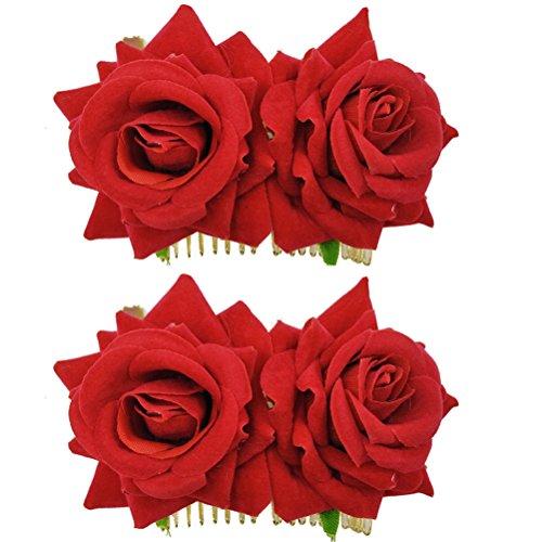 Frcolor 2 unids Rosa Flor Peine Pelo Nupcial Bailarín
