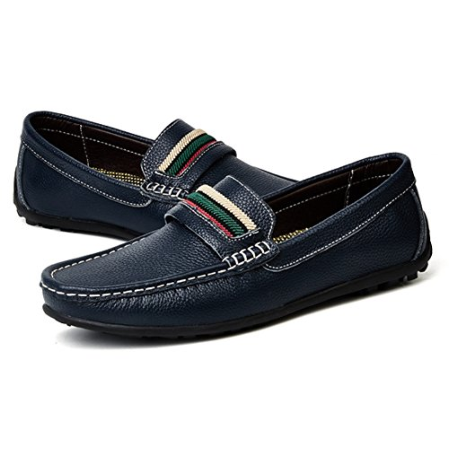 Minitoo Boys Mens Colorful Stripe Stitched Casual Penny Loafers Dark Blue