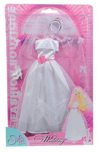 Hochzeitskleid / Brautkleid für Barbie, Steffi,... mit Rose in pink, Schleier und Diadem