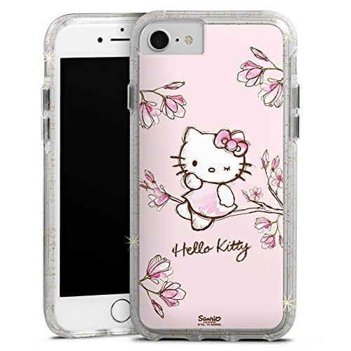 Apple iPhone 7 Bumper Hülle Bumper Case Glitzer Hülle Hello Kitty Merchandising Pour Supporters Merchandise Fanartikel Bumper Case Glitzer gold