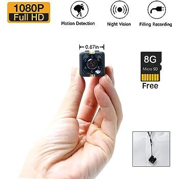 1080P Mini Cam Spy Hidden Camera LXMIMI HD Nanny Web Cam con Visione Notturna e Rilevamento di Movimento con la Carta 8G