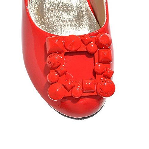 Chaussures Femme Rond à Pu Unie Légeres Rouge Couleur Tire VogueZone009 Talon Bas Cuir vqOwOp