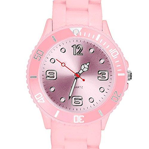 Taffstyle Farbige Sportuhr Armbanduhr Silikon Sport Watch Damen Herren Kinder Analog Quarz Uhr 39mm Rosa
