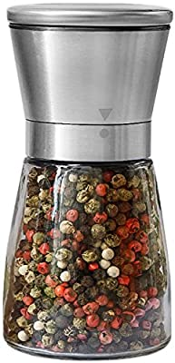 Pepper Grinder or Salt Shaker for Professional Chef - Best Spice Mill with Brushed Stainless Steel, Special Mark, Ceramic Blades and Adjustable Coarseness from A&M Online