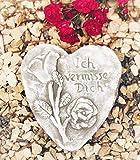 Radami Grabherz Spruch - Ich vermisse Dich - Grabschmuck Dekoherz Steinguss Herz Rose Hell