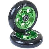 2 Stück SLICKstuff Stunt Scooter CNC Alu 100mm Felgen High End Rollen Abec 9, Ausführung:Target, Farbe: grün / schwarz
