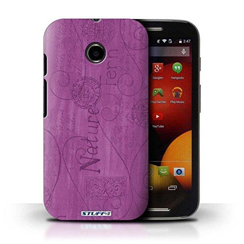 Kobalt® Imprimé Etui / Coque pour Motorola Moto E (2014) / Rose conception / Série Motif Nature Pourpre