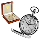 Boys Christening Gift, Engraved St Christopher Pocket Watch in a Quality Wooden Presentation Box