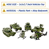 Enlarge toy image: Die-cast Metal Military Vehicles Playset,6 Pack Assorted Army Vehicle Alloy Models Car Toys,Mini Army Toy Tank,Jeep,Panzer,Anti-Air Vehicle,Attack Helicopter,Scout Helicopter for Kids Toddlers Boys