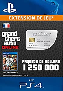 Grand Theft Auto Online | GTA V Great White Shark Cash Card | 1,250,000 GTA-Dollars | Code Jeu PS4 - Compte français