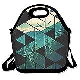 Neoprene Lunch Tote - Vintage Pines Eagles Mountain In Geometric Shape Waterproof Reusable Cooler Bag For Men Women Adults Kids Toddler Nurses With Adjustable Shoulder Strap - Best Travel Bag