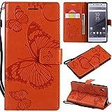 Hozor Sony Xperia Z5 Handyhülle, Retro Großer Schmetterling Muster PU Kunstleder Ledercase Brieftasche Kartenfächer Schutzhülle mit Standfunktion Magnetverschluss Flip Cover Tasche, Orange