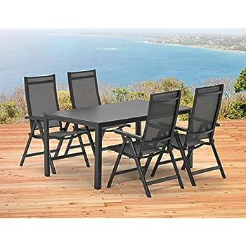 Amazon.de: 1 Tisch 140x95 cm und 4 Klappsessel Kettler SYLT ...