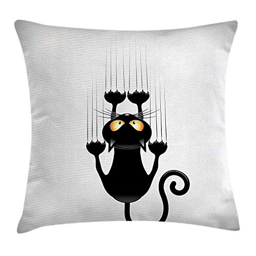 Kissenbezüge Funny Throw Pillow Cushion Cover, Naughty Cat Scratching The Wall with His Paws Grumpy Feline Humorous Kitten Graphic, Decorative Square Accent Pillow Case, 18 X 18 inches, Black White