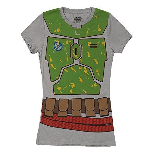 Mighty Fine Damens Ich Bin Boba Fett Kostüm Juniors T-Shirt (Junioren ()