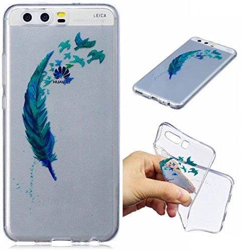 Huawei P10 Hülle Silikon transparenter Ultra dünner TPU weicher handy hülle DECHYI Kunstmalerei Serie handyHülle Huawei P10 blaue Feder