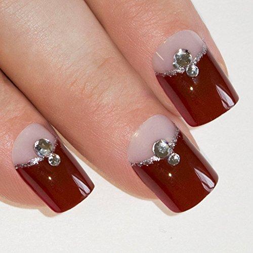 Bling Art False Nails Französisch Maniküre Roter Kristall Mittel Tipps UK (Kurze Sammlung Voll)