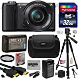 Sony Alpha A5000 20.1 MP Interchangeable Mirrorless Lens Camera With 16-50mm OSS Lens ILCE5000L (Black) With Must Have Accessories Bundle Kit Includes 32GB Class 10 SDHC Memory Card + Replacement (1200mAh) NP-FW50 Battery + Home Wall Charger With Car And