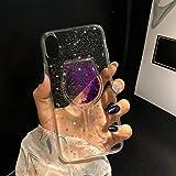 Misstars Glitzer Flüssig Hülle für iPhone 7 Plus/ iPhone 8 Plus, Luxus Bling Sterne Pailletten Handyhülle Transparent Weich TPU Silikon Schutzhülle Kreativ 3D Weinglas Design Backcover Ultra Slim Kratzfeste für Apple iPhone 7 Plus / 8 Plus (5,5 Zoll), Lila
