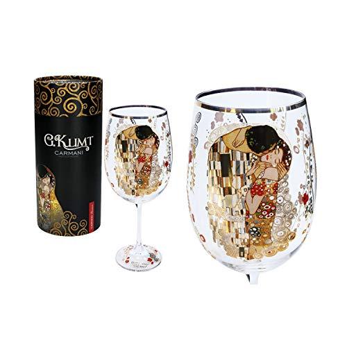 """CARMANI - Fancy Weinglas verziert mit Gustav Klimt""""Der Kuss"""", 640 ml"""