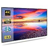 GLIME Projektionswand 100 inch 227x131cm 16: 9 Bildschirm Tragbare Video Projektor Faltbare Film 3D HD TV für Heimkino Indoor Outdoor Weiß 100 zoll