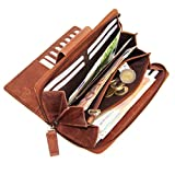 ALMADIH Leder Damen Portemonnaie Elyse aus Premium Rindsleder mit 24 Kartenfächern + Reißverschlussfach Braun Deluxe, Langbörse Geldbörse Brieftasche Clutch Damenbörse (P25 Braun Deluxe)