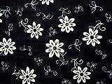 Floral Print Gewebe der Viskose Kleid Schwarz &