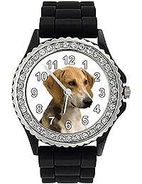 Timest - Anglo Francais de Petite Venerie - Reloj de Silicona negro para Mujer con Piedrecillas