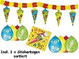 Unbekannt Deko Zum Schulanfang 1 x Girlande + 8 x Luftballons + 20 x Servietten + Sticker