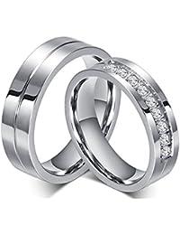 Moneekar Jewels Silver Titanium Stainless Steel Cubic Zirconia 2 Pcs 6Mm Couple Ring For Women & Men