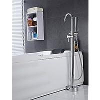 KISSRAIN® Vasca da bagno rubinetto - Contemporanea - Handshower Incluso / da pavimento - Ottone (Chrome)