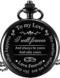 Reloj de Bolsillo Regalo a Marido Esposa Novio Novia, Reloj de Bolsillo Grabado To My