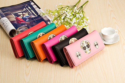 honeysuck Lovely calavera impresión mujeres monedero tarjeta de Crédito bolsa bolso de mano (rosa)