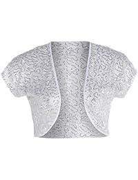 Nouveau Femmes Grande Taille Dentelle Crochet hausse les épaules Sequin conception Bolero Tops 44-54