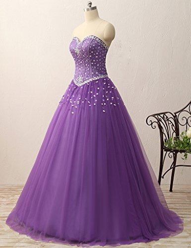 JAEDEN Damen Traegerlose Ballkleider Lang Tuell Quinceanera Kleid Festkleid Abendkleider Violett