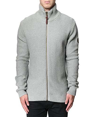 Herren Casual Fashion Lindbergh Winter Strick Cardigan gestrickt Pattern Zip Grau - Grey Mel