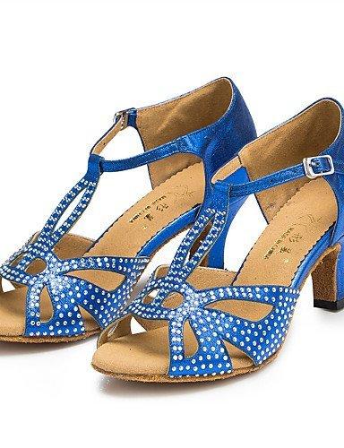 ShangYi Chaussures de danse(Noir / Bleu / Gris) -Personnalisables-Talon Personnalisé-Satin-Latine / Jazz / Salsa / Samba / Chaussures de Swing Grey