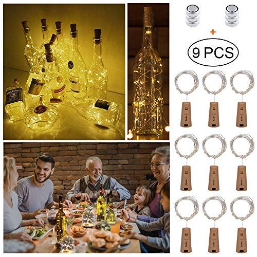 9 Stück LED Flaschen-Licht, deko hochzeit 2M x 20 LED Weinflaschenlichter, Flaschenlichter Lichterketten Party romantische Deko,Kork Flaschen Licht[neue Version] [Warm-weiß]