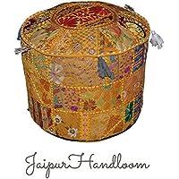 Jaipurhandloom giallo Vintage indiano ottomano Impreziosito con