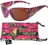 Heiße Hornz Pink-Purple Tarnung polarisierten Sonnenbrillen Country Girl Style Strass Akzente & freie passende Beutel aus Mikrofaser – Heiß Rosa-Lila Camo Rahmen – Bernstein Objektiv