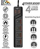 BROLAVIYA 4 AC Power Sockets 2500W-10A with Worldwide Adapter,3.4A 4 USB Port, 2.0