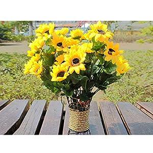 KIICN Flores Artificiales Girasol de 7 Cabezas Flores Artificiales Vegetación Falsa Jardinera Exterior Hogar Cocina Oficina Decoración de Jardín de Bodas