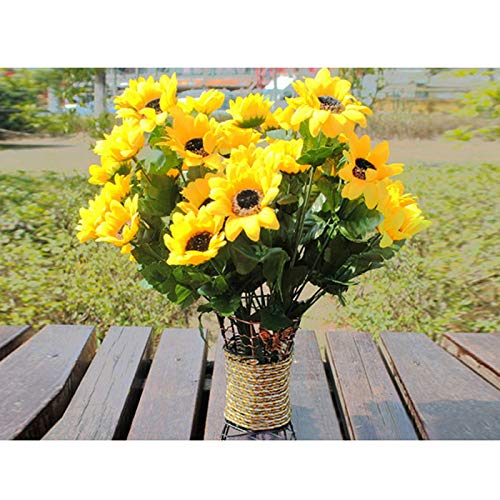 lumen 7 Köpfe Sonnenblume Hochzeitsdekorationen Imitatgrün Für DIY Hochzeits-Blumensträuße Mittelstücke Brautpartei-Inneneinrichtungen ()