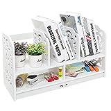 Home-Neat 2-Tier Composite Bois- Plastique Etagère de Stockage Rangement avec 5 Compartiments pour Maison Bureau Cuisine Chambre Salle de Bains, Blanc