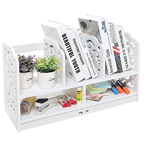Home-Neat DIY Holz Buch Regal Rack Büro Desktop Organizer freistehende Regal/Schreibtisch-Organisation Caddy, stationäre Aufbewahrung (Schreibtisch-organizer Tier)