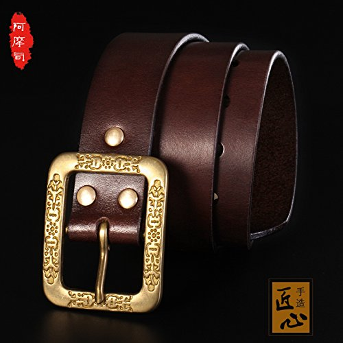 LLZPD Leather Belt/Handmade/Custom Made/Copper Buckle/Young/Man/Belt/Couple/Pin Buckle/Female/Birthday/Gift/Valentine/Couple, Primary Colors, 120Cm -